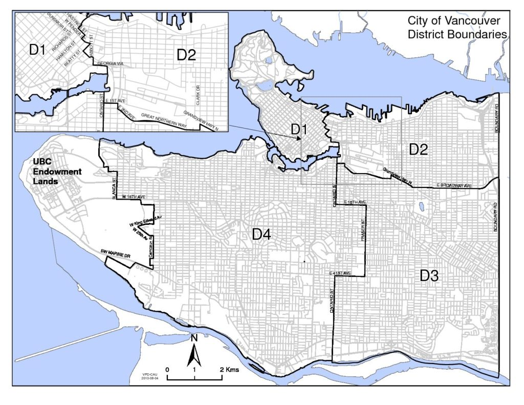 Map of four police districts in Vancouver
