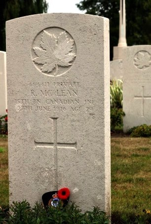 Robert McLean grave marker